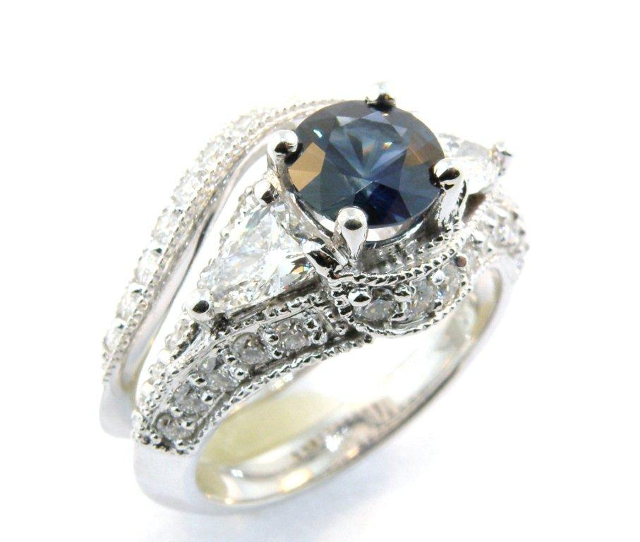 Sapphire and Diamond Engagement Set