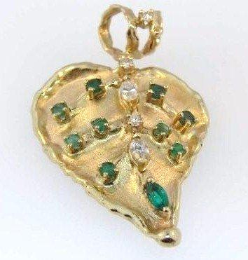 Emerald and Diamond Leaf Pendant