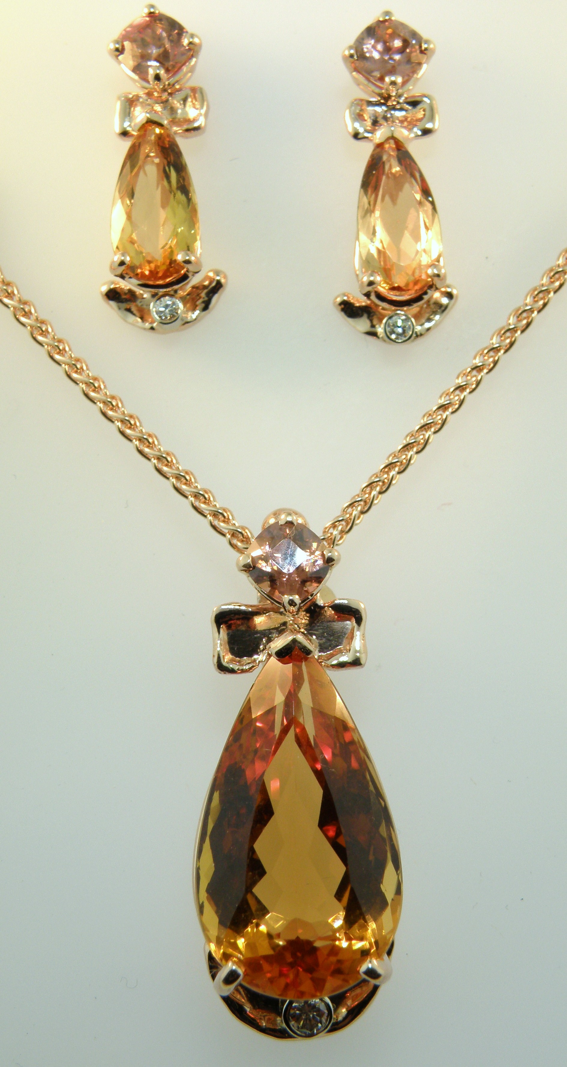 Imperial Topaz Pendant and Earring Set
